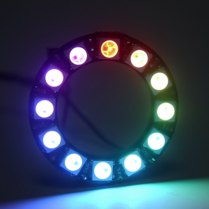 28088: Smart LED NeoPixel Ring 12 x 5050 - front view (lit)