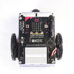 32700: cyber:bot robot kit with micro:bit - assembled, top view