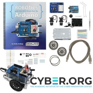 81033: CYBER.ORG Shield-Bot with Arduino Kit - kit contents with assembled view and logo